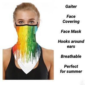Gaiter Face Covering Mask Neck Scarf Paint Art